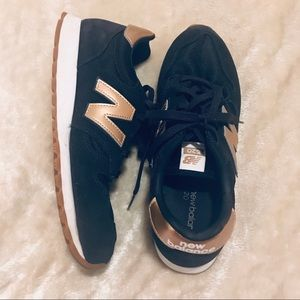 J Crew x New Balance rose gold/navy sneakers